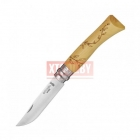 Нож Opinel №7 Nature, нержавеющая сталь, рукоять самшит, гравировка листья