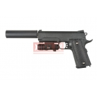 Страйкбольный пружинный пистолет Galaxy G.25A, кольт, colt, черный, в комплекте глушитель + ЛЦУ