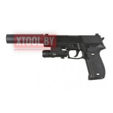 Страйкбольный пистолет Galaxy G.26A, Sis Sauer P226, черный, в комплекте глушитель + ЛЦУ