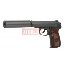 Cтрайкбольный пистолет Galaxy G.29A Пистолет Макарова с имитацией глушителя, металлический, пружинный
