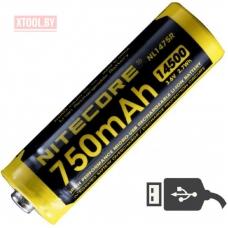 Аккумулятор NITECORE NL1475R 14500 LI-ION 3.7v 750mA USB 17042