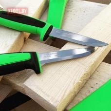 Нож Morakniv Basic 511 2019 edition углеродистая сталь, пласт. ручка (черная) зел. вставка, 13466