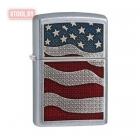 Зажигалка Zippo American Flag Emblem - Street Chrome