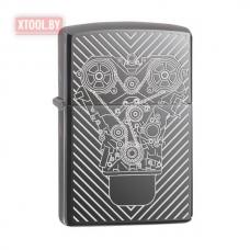 Зажигалка Zippo Engraved Motor - Black Ice