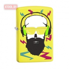Зажигалка Zippo Hipster with Headphones - Neon Yellow