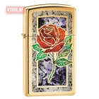 Зажигалка Zippo Red Rose High Polish Brass, Slim
