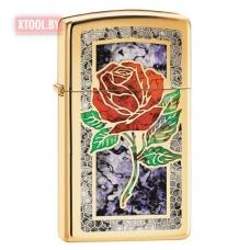 Зажигалка Zippo Red Rose High Polish Brass, Slim