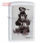 Зажигалка ZIPPO Spazuk Monkey With a Bird White Matte