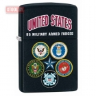 Зажигалка Zippo US Military Armed Forces Alliance Black Matte